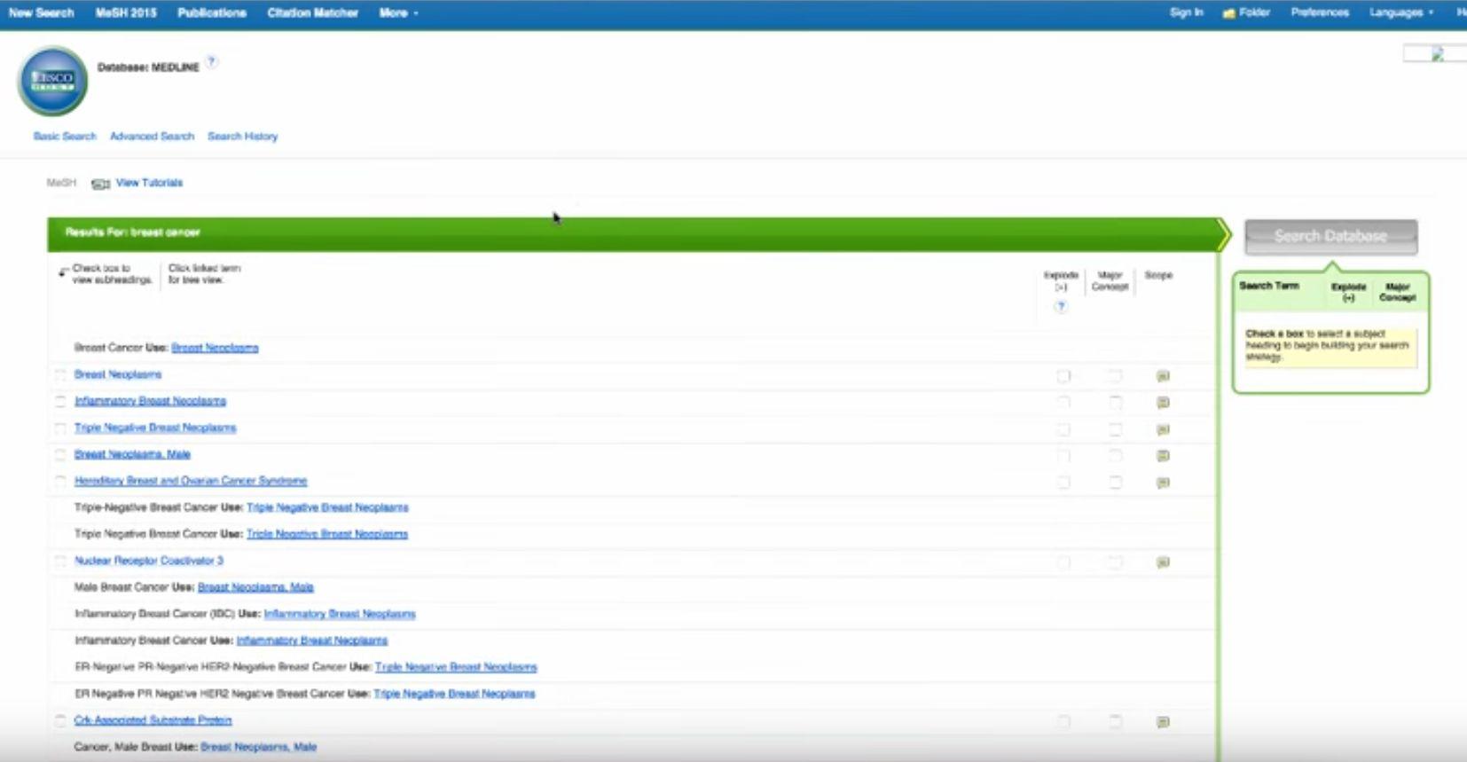 screenshot MEDLINE search