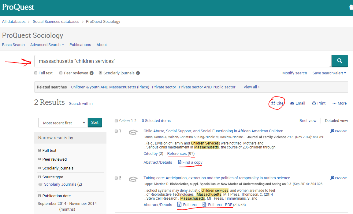 picture of search on ProQuest