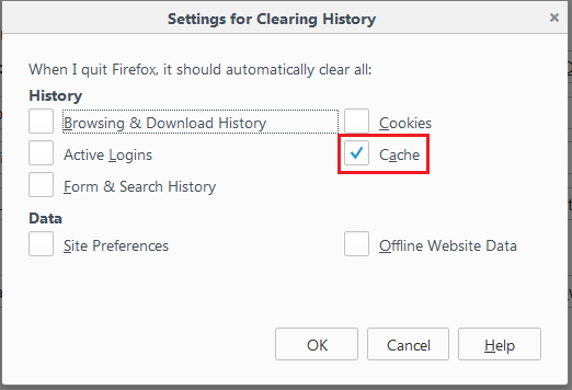mozilla firefox clearing cookies cache and browsing history