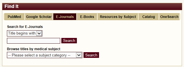 E-Journals search tab.