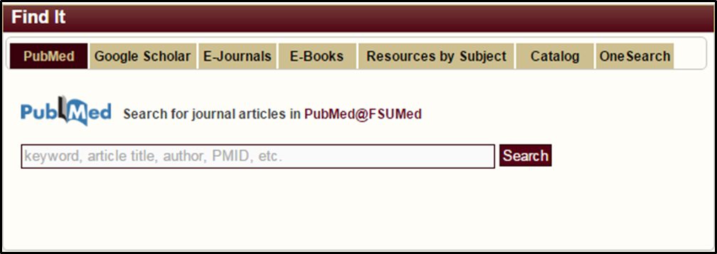 PubMed search tab.