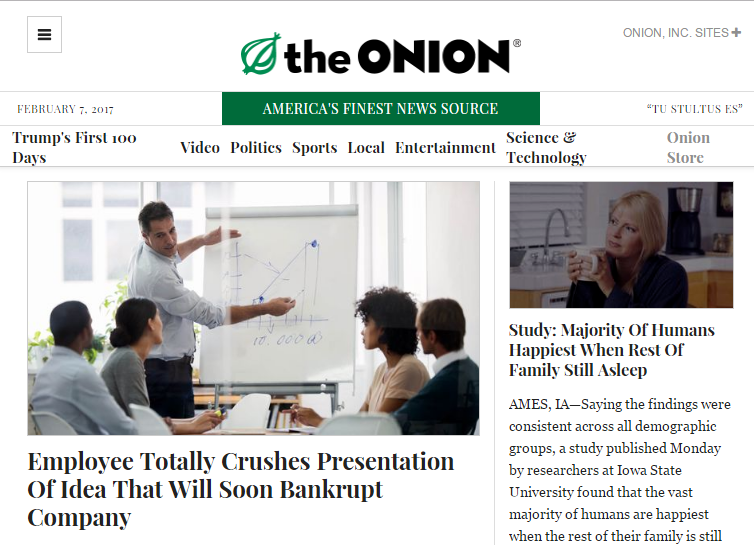 Screenshot of the satirical news website the Onion