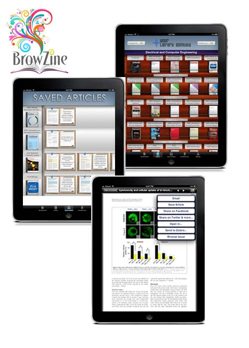 Browzine features displayed on tablet