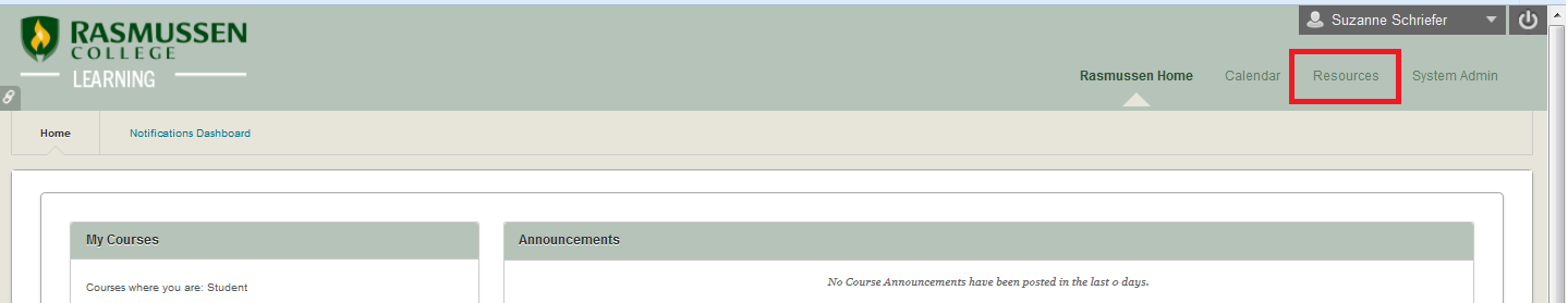 Resources tab located in Blackboard Learn