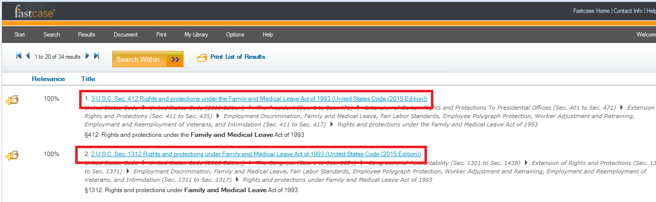 Click on the titles in the results list to view statutes in full text.