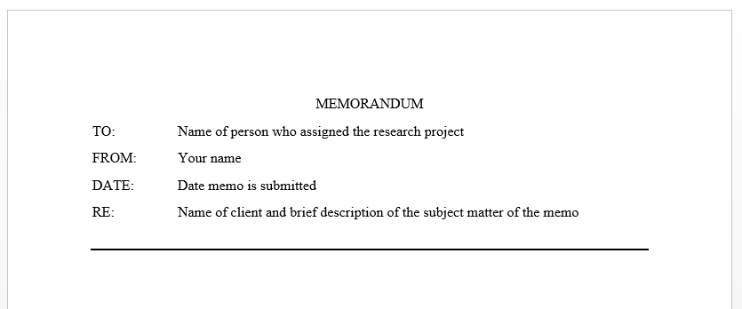 example of a memo caption, which contains to, from, date, re: fields
