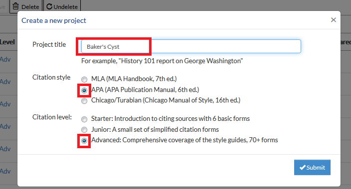 Example of inputting a project title, selecting APA, and choosing the Advanced version