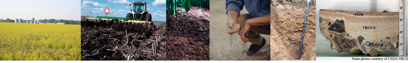 Image banner of different soils and activities related to soil science