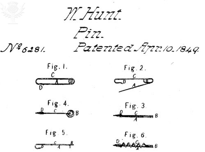 Hunt's diagrams for safety pin patent application