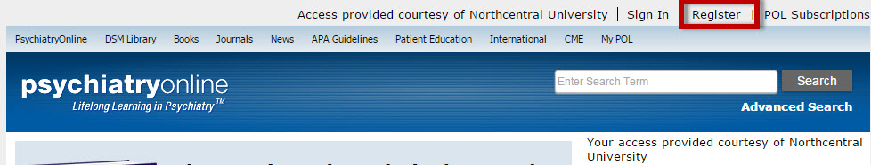 PsychiatryOnline screenshot with the Register link highlighted.