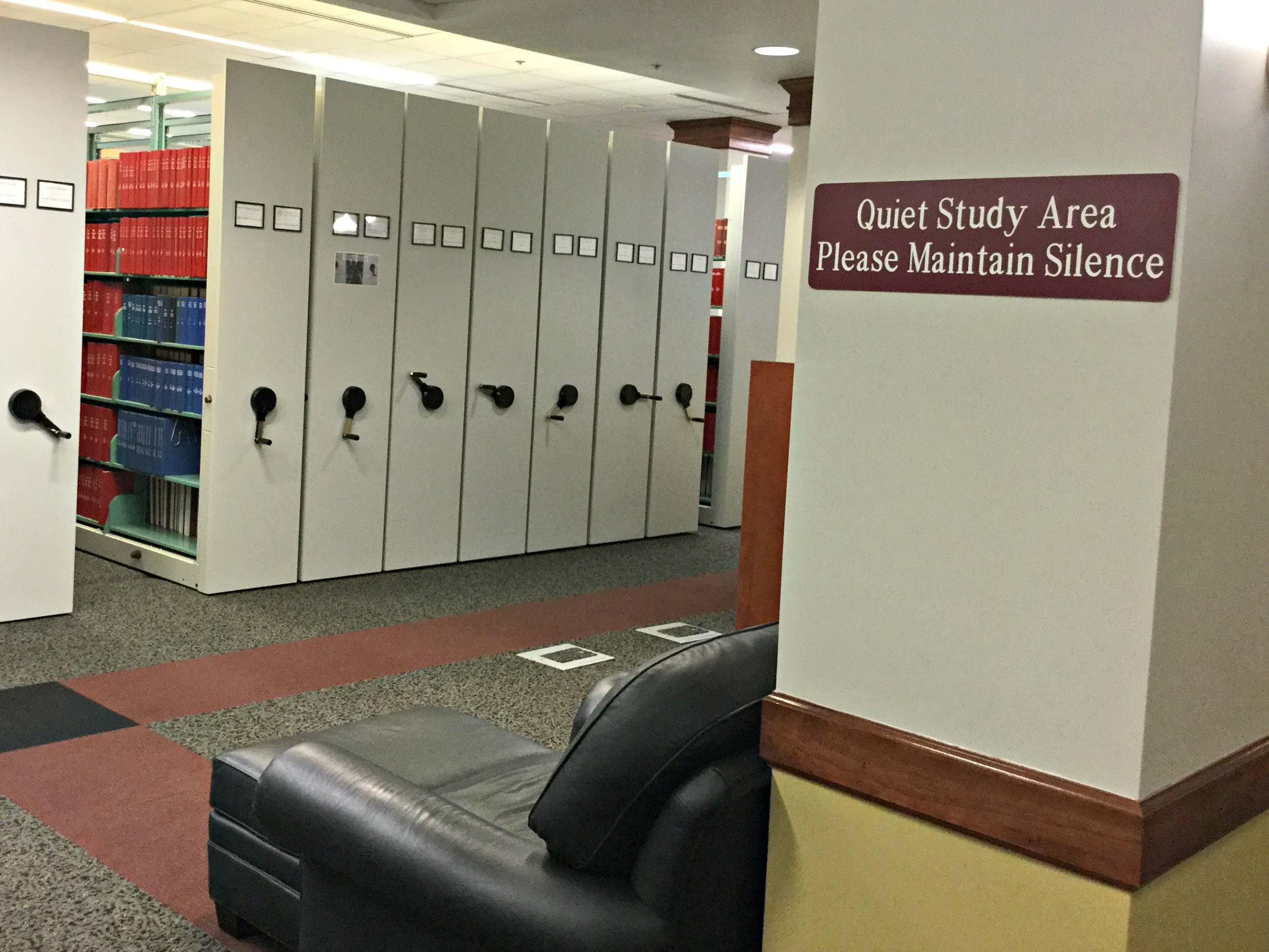 A quiet study area on the first floor