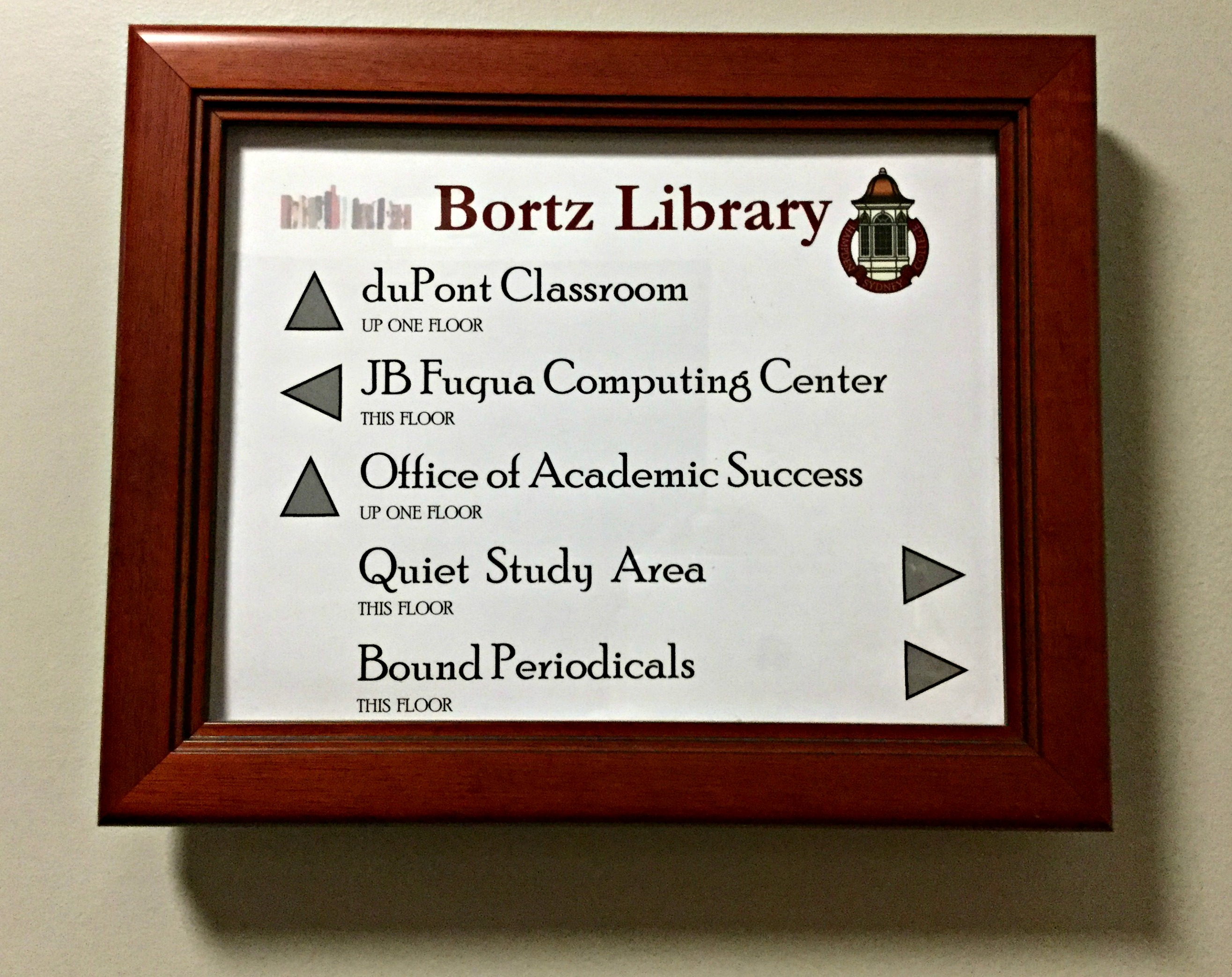 Library signage throughout the building helps with directions