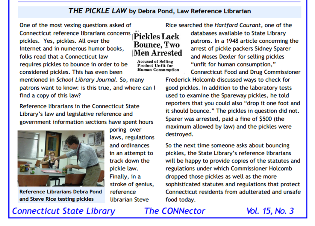 Article from the Connector titled the Pickle Law