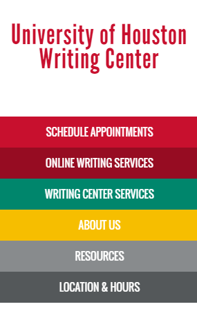 writing center homepage