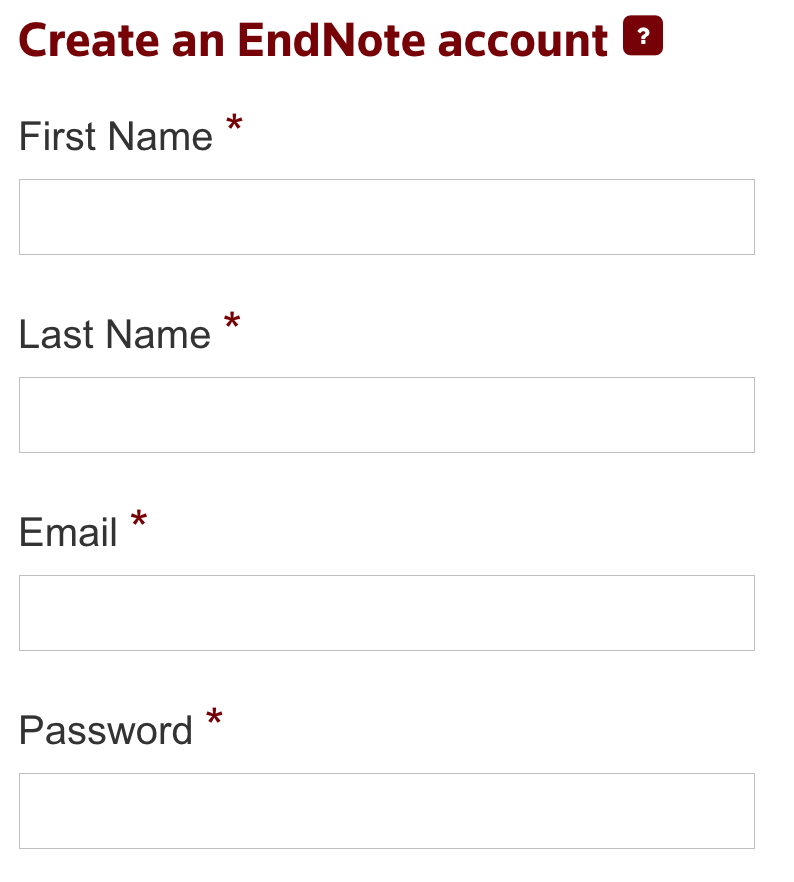 Image of the create an EndNote Online account
