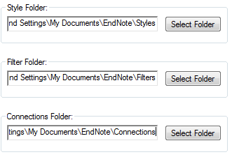 Image of folder locations in EndNote