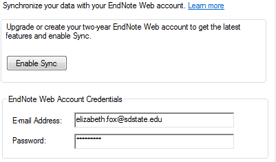 Image of setting up an EndNote Web account and linking it