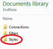 Image of moving a file from a downloads folder to the EndNote Styles folder