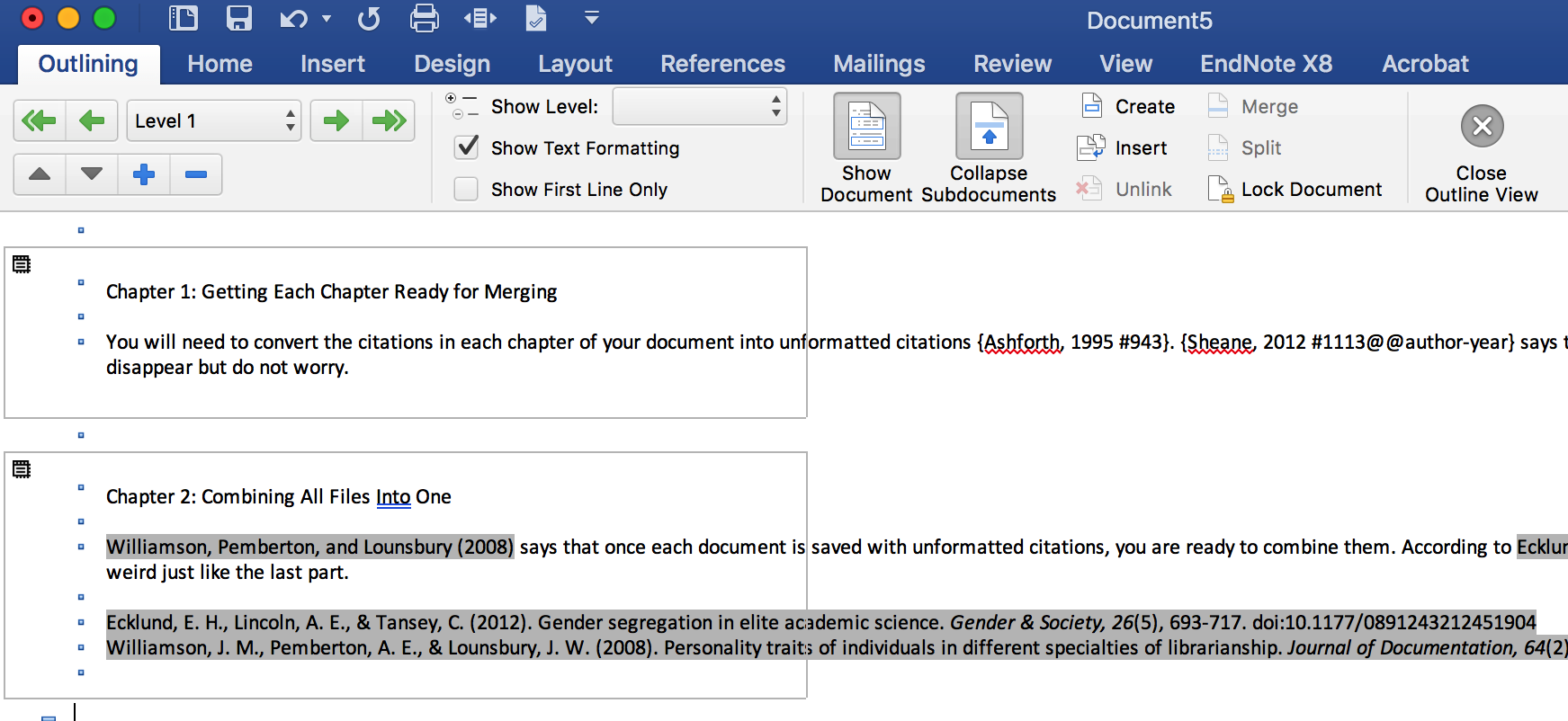 All documents inserted into new Word document