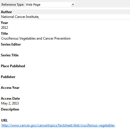 How Do I Cite A Web Page Using Endnote Ask The Research Medical Library