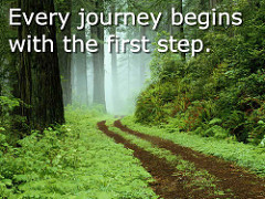 Every journey begins with the first step - road through a forest