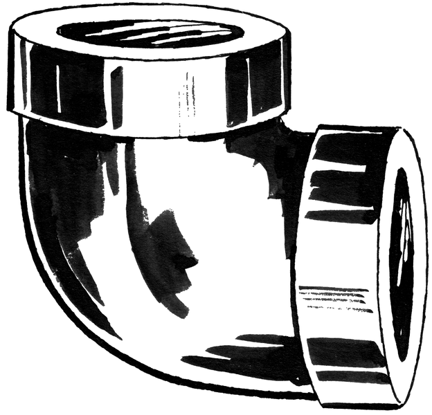 An elbow fitting can assist in plumbing.