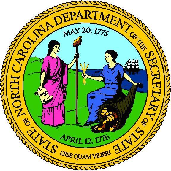 The seal of NC depicts two women by the shore.