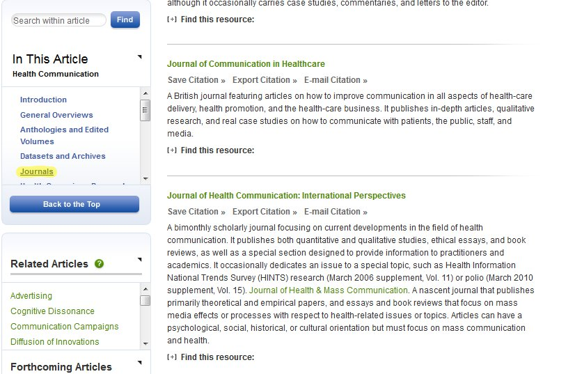 "A screenshot of Oxford Bibliographies Online, with ""Journals"" highlighted under ""In this Article"""