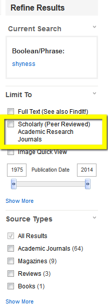 "A screenshot of an the ""refine results"" tools in an EBSCO search, with a yellow highlighted box around the option to limit to scholarly or peer reviewed journals."