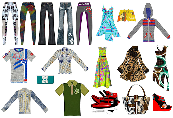 Image of many wardrobe pieces in colorfu and youthful styles.