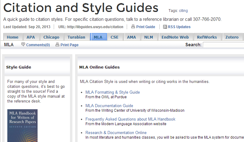 Citation and Style Guides (MLA tab)