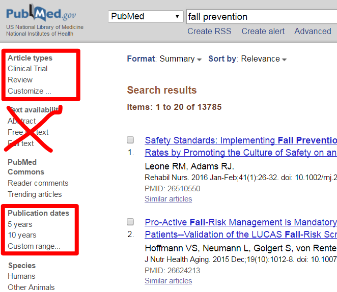 PubMed search filters