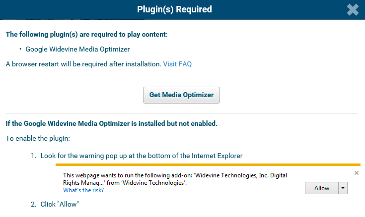widevine web plugin internet explorer