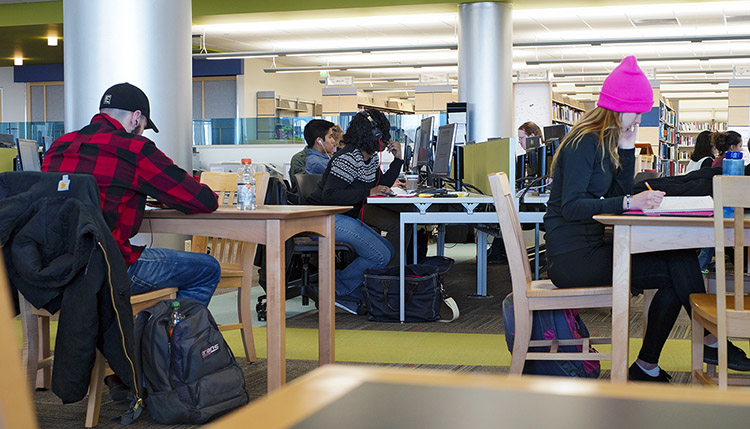 Photo: Students studying at working on computers at Truax Library. Photo by Matthew Coan