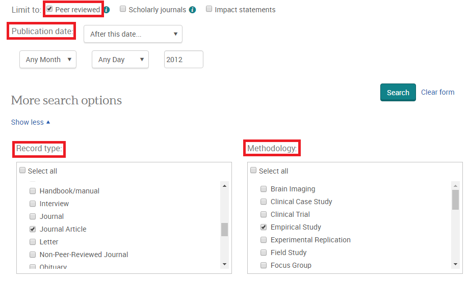 Search limits in PsycINFO ProQuest