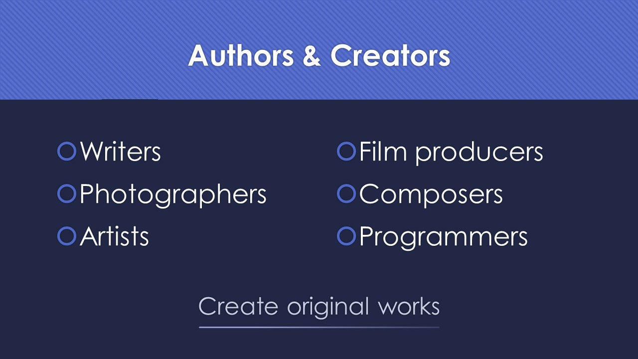 Slide 3: authors and creators create original works.  These people include writers, photographers, artists, film producers, composers, and programmers