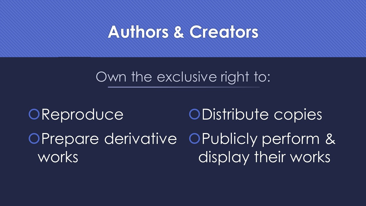 Slide 4: own the exclusive right to reproduce, prepare derivative works, distribute copies, and publicly perform and display their works.