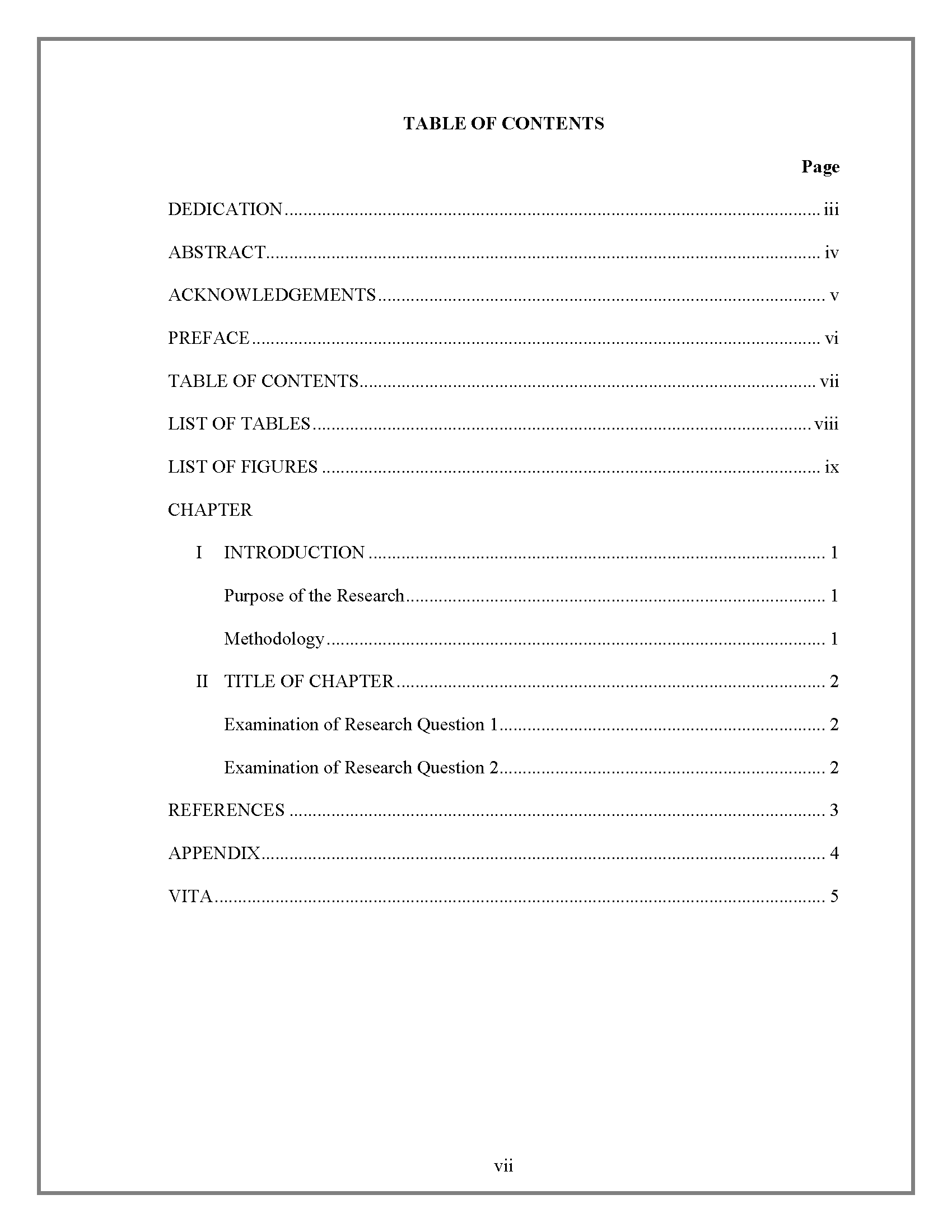 example of table of contents for report