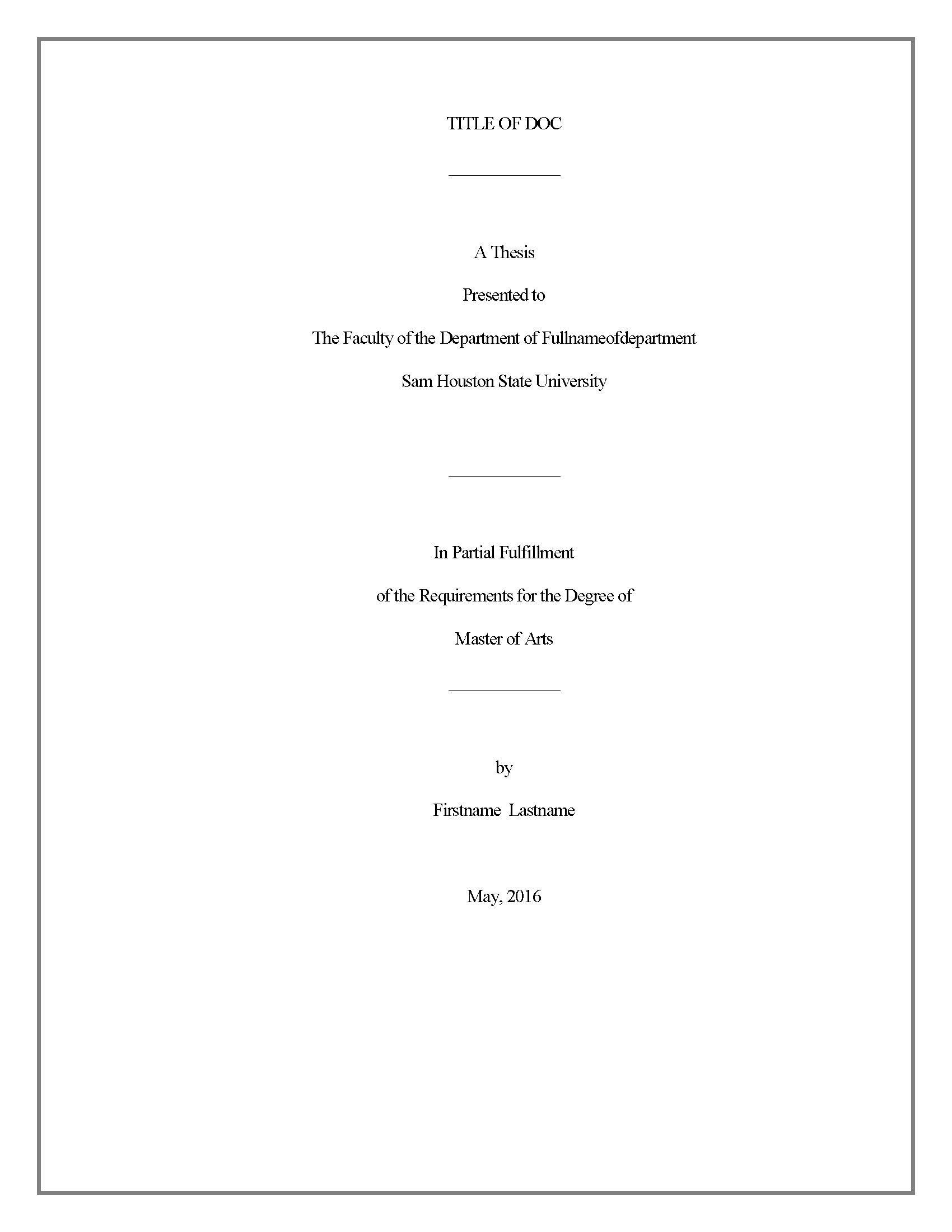 Title Page - Thesis And Dissertation - Research Guides At Sam Houston State  University