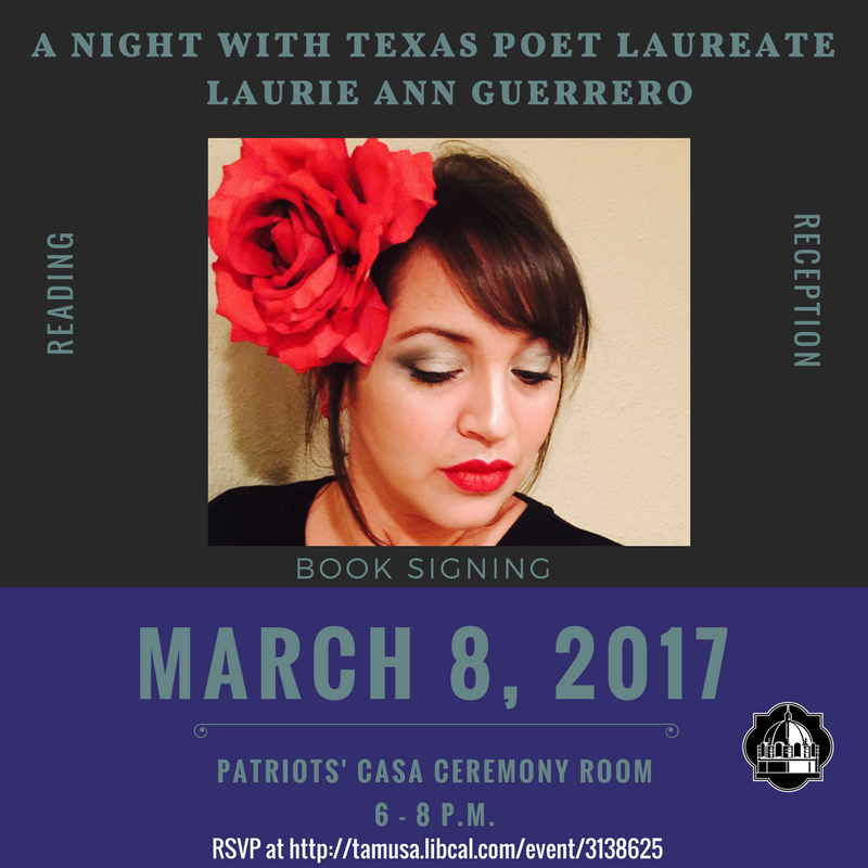 RSVP for a night with Texas Poet Laureate Laurie Ann Guerrero.