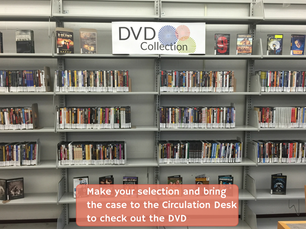 Make your selection and bring the case to the Circulation Desk to check out the DVD