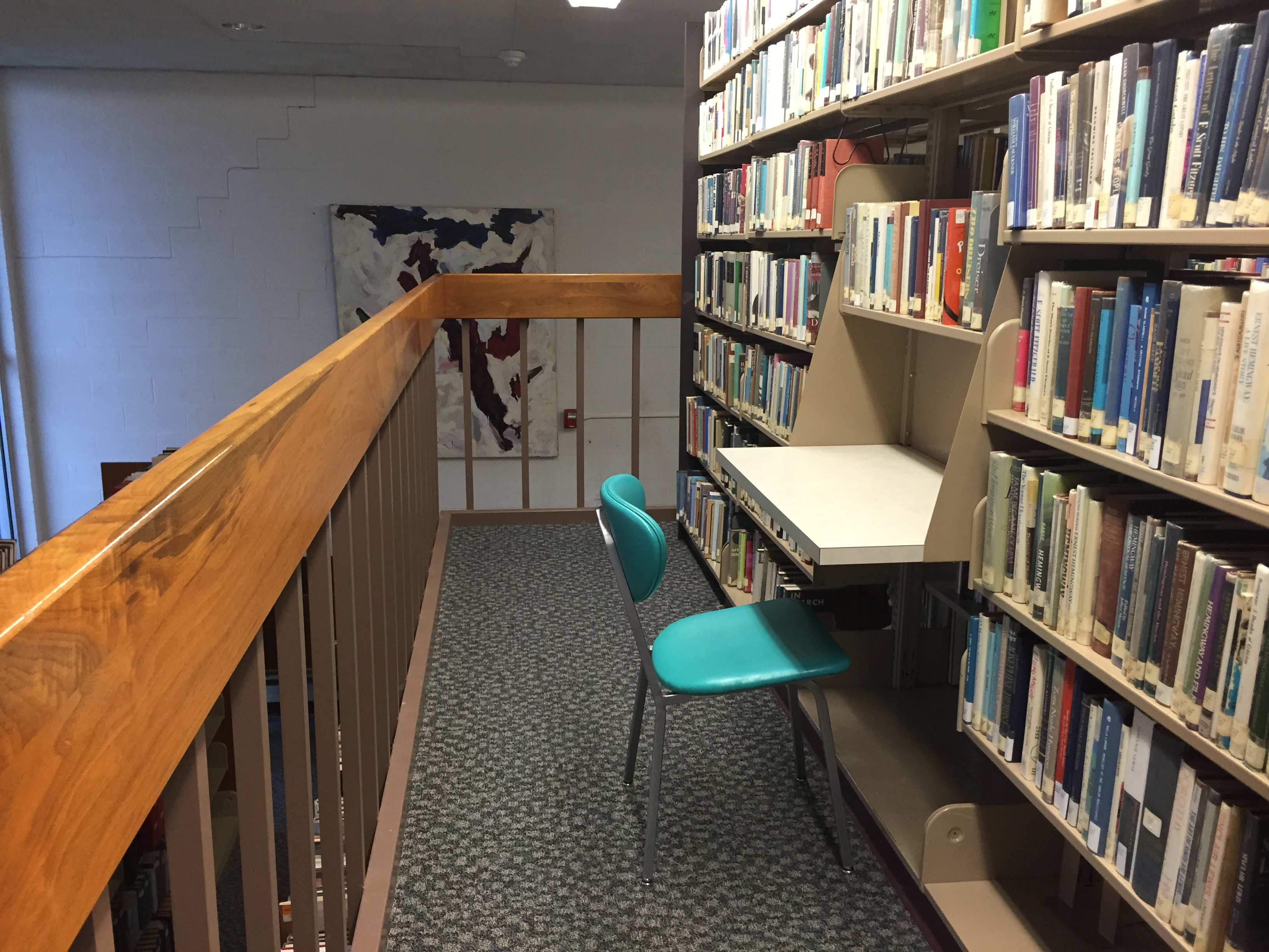 Private study area within the stacks