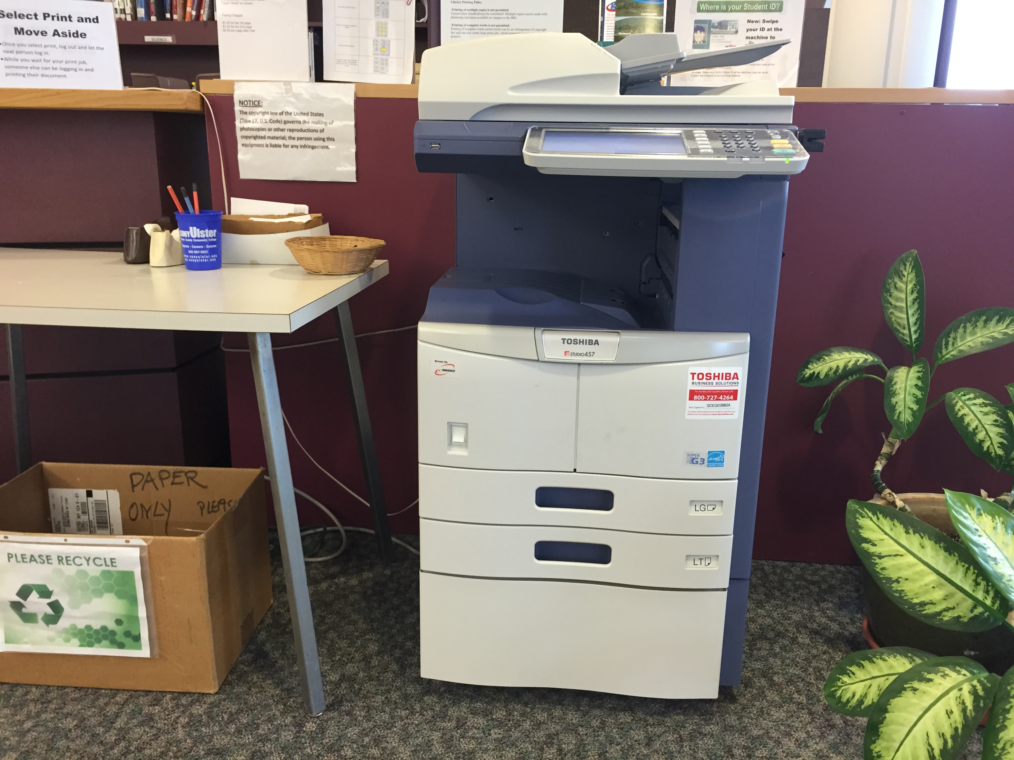 The library's Toshiba printer/copier/scanner/fax