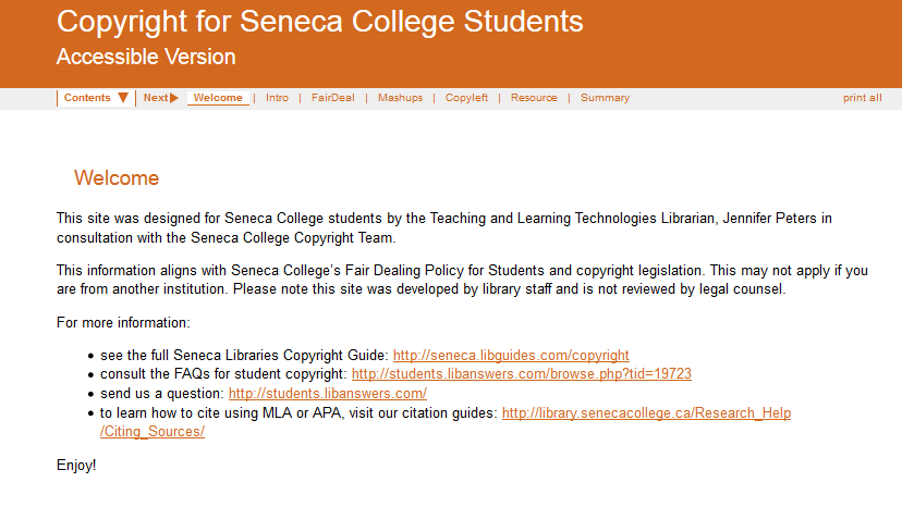 Copyright Student Training Site - Accessible Screenshot