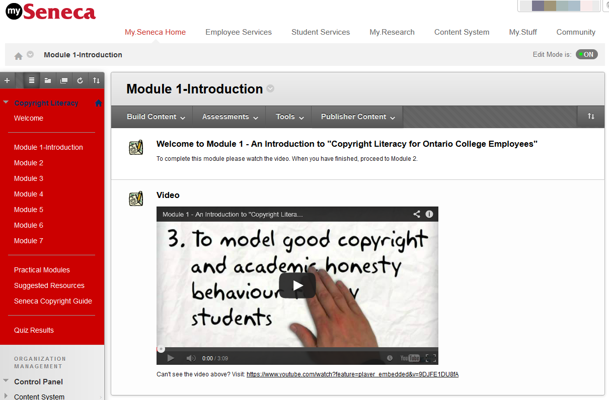 Copyright Literacy Modules Screenshot