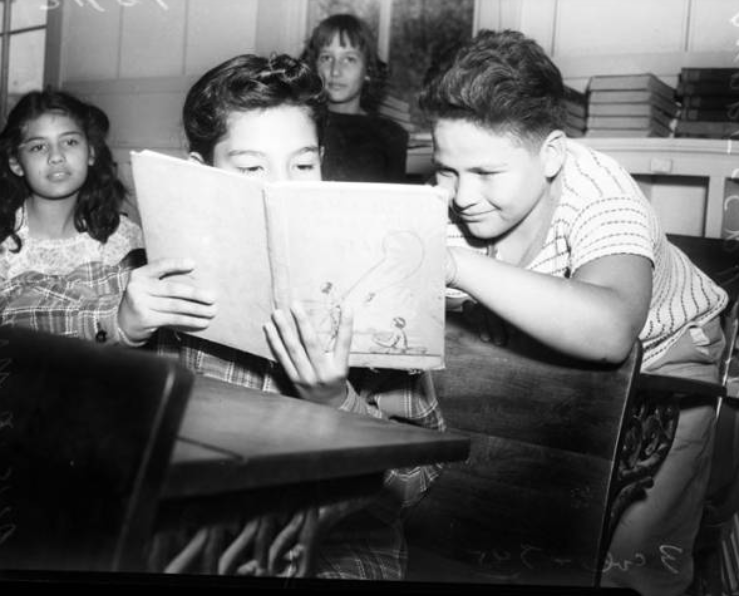 Alicia Morales and Andres Cruz in classroom from the San Antonio Light Photograph collection