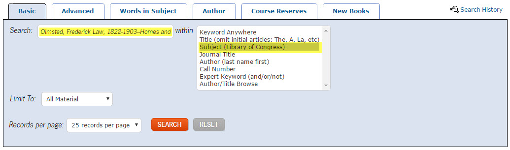 example of searching the catalog using Library of Congress subject heading