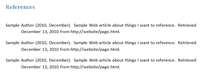 works cited page for websites