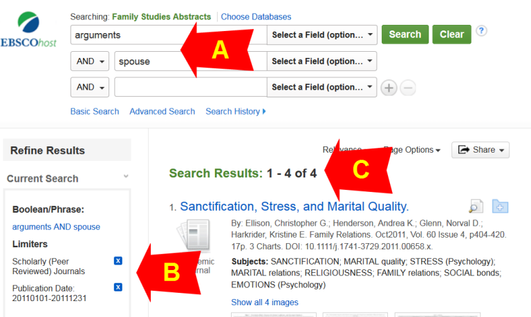 Screen shot of A, B, C in Family Studies Abstracts