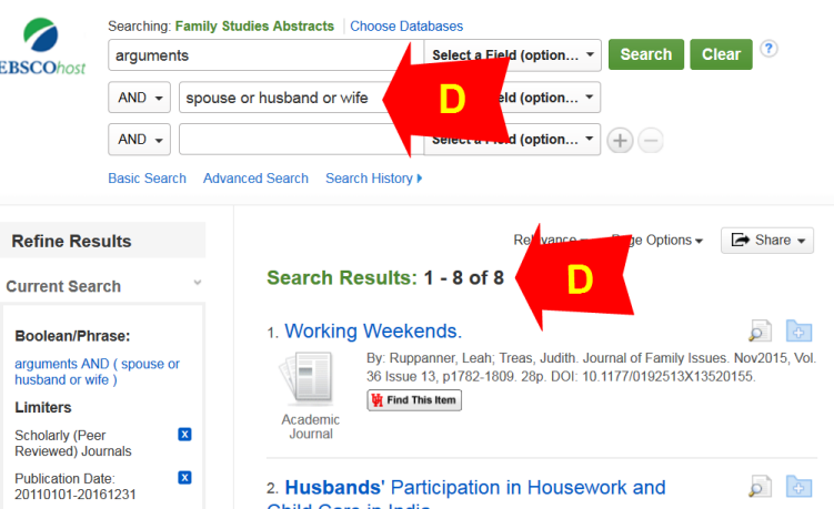 Screen shot of D in Family Studies Abstracts
